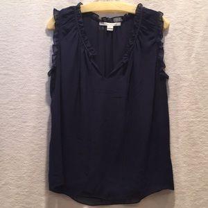 Diane Von Furstenberg sheer navy blouse